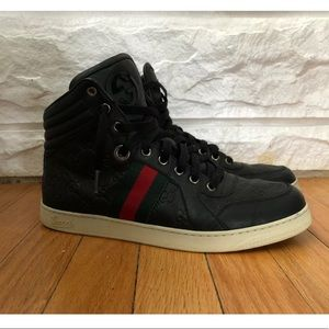 Gucci Guccissima Black High Top Sneakers Mens US 8
